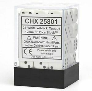 Chessex Dice - 12mm D6 x 36 - Opaque - White / Black