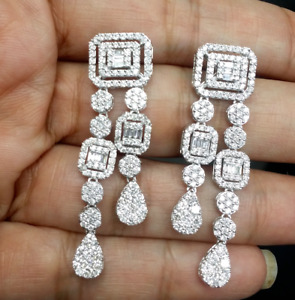 Deal! 3.00CT Natural Baguettes Diamond Hanging Chandeliers Earrings  14K Gold
