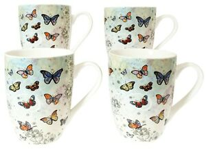 Set Of 4 Butterfly Mugs Coffee Tea China Ceramic Cup Drinking Gift Idea
