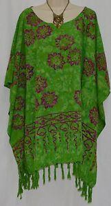 HIBISCUS Green Kaftan Blouse Top Baggy T-Shirt OverSize Ladies Fringe Festive