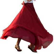 Women Skirt Elastic Waist Chiffon Long Maxi Pure Beach Dress Chiffon Beach Skirt