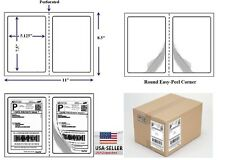 "Perforated 400 Quality Round Corner Shipping Labels 2 Per Sheet 7.5"" x 5.125"""
