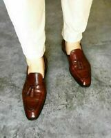 Mocassini da uomo in pelle marrone con mocassini formali fatti a mano