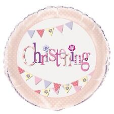 """18"""" Foil Helium Balloon Pink Bunting Christening Girls Party Decoration Supplies"""