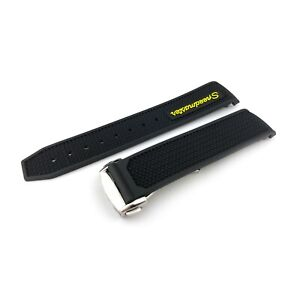 Black Yellow Rubber Silicone Strap Band fit OMEGA SPEEDMASTER 21mm 22mm clasp
