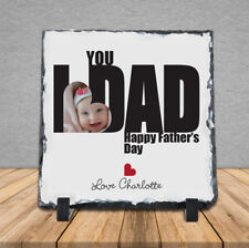 Personalised Handmade Happy Fathers Day Rock Slate Photo Dad Daddy Birthday Love