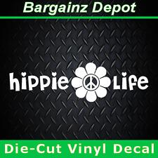 Vinyl Decal .. HIPPIE LIFE .. Vinyl Decal Sticker Car Laptop w/ Peace Flower