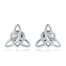 VENSERI 925 Sterling Silver Irish Celtic knot Trinity Triangle Knot Earrings