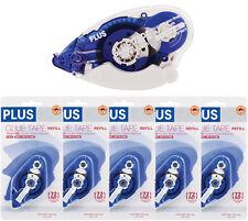 "PLUS Glue Tape Adhesive Roller Permanent Refillable 1/3"" x 72'  & 5 Refills!"