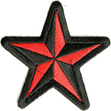 Embroidered Black and Red Star Sew or Iron on Patch Biker Patch