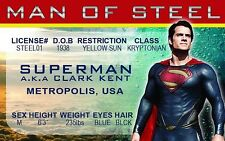 Superman the Man of Steel Krypton Kal-el Clark Kent ID card Drivers License