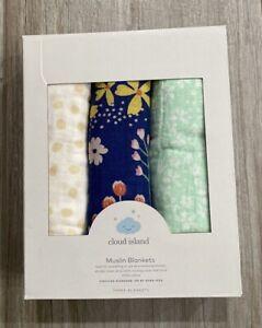 Cloud Island Muslin Swaddle Blankets Wildflower 3 Pack