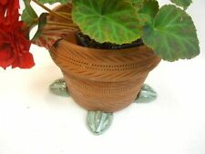 "POT FEET Ceramic Flower Planter Risers ""Birdfoot"" Design Turquoise set of 4"