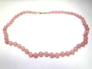 Wunderschöne Halskette mit Kugeln aus Rosenquarz  AS4006