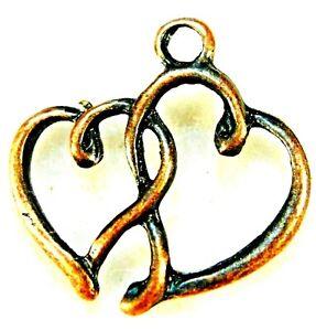 20Pcs. Tibetan Antique Copper HEART Charms Pendants Earring Drops Findings H125
