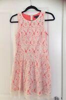 Top Shop Cream Lace Coral Eyelash Hem Dress Size 8