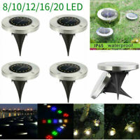 8-20LED Solar Disk Lights Ground Buried Garden Lawn Deck Yard Outdoor Waterproof