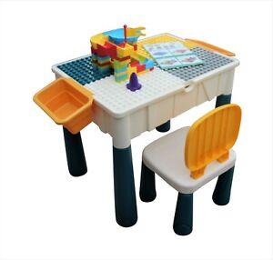 Kids Table & Chair Desk Set Childrens Activity Play & Build Duplo Bricks