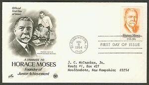 #2095 20c Horace Moses, Art Craft-PCS FDC ANY 4=