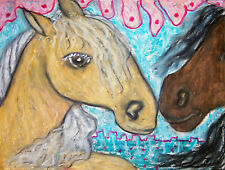 Summer Love Palomino Dark Bay Horse Pony Folk Art Print 8x10 Animal Collectible