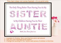 SISTER AUNTIE AUNT Christmas Gift Birthday Personalised Word Art Present A4