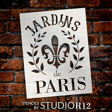 """Jardins De Paris - Wreath & Fleur - Word Art Stencil - 11 1/2"""" x  15"""" - STCL1415"""
