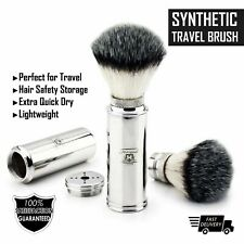 Men's Travel Shaving Brush With Synthetic Bristle & Stainless Steel Handle