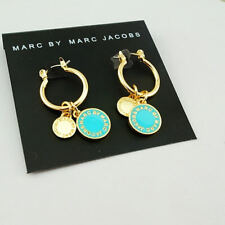 Marc by Marc Jacobs Gold Small Round Hoop Earrings w/Blue Enamel Logo Charms