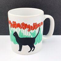 Vtg Staffordshire Kiln Craft England Coffee Mug Cup Black Cat Tulip Flowers