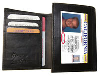 BLACK MENS GENUINE SOFT LEATHER ID BADGE THIN TRIFOLD FRONT POCEKT WALLET