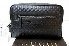 New Gucci Men's 419775 Black Leather Micro GG Guccissima Large Toiletry Dopp Bag