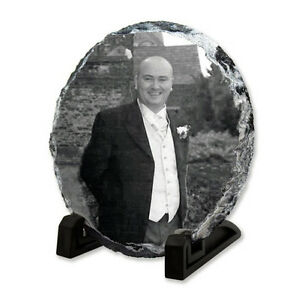 Circle Memorial Photo Rock Slate - Personalised Plaque & Stand With Your Image