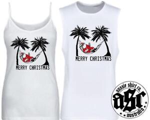 Mens Womens Tshirt CHILLIN SANTA CHRISTMAS PRINT