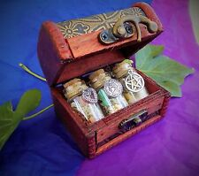 Witchcraft Trio Spell Bottles In Wooden Trinket Box Money, Love and Luck.