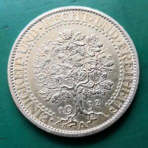 1932 A  Berlin mint Germany Oaktree  Weimar Republic silver 5 Mark coin #251