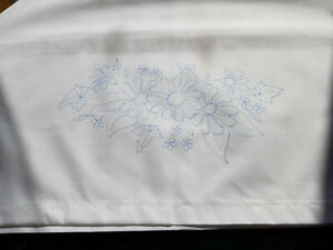 Traced to Embroider pillow cases pair DAISY & Forget-Me-Not flowers CSOO13