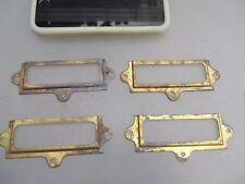 Old Brass Drawer Index Card Holder Display Frame x4 Antique - Vintage Style