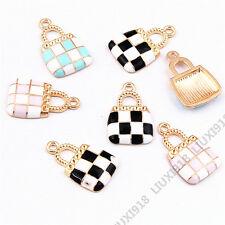 Enamel Gold Plated Handbag Pendant Charms Bracelet Earring Jewelry Making H941