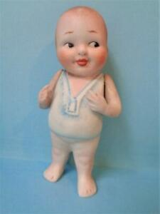 """BABY BUD 1930s Bisque Nippon Character Doll 4"""" Happifat Boy Made in Japan"""