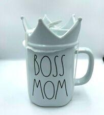 Rae Dunn Boss Mom Mug With Crown Topper Blue New