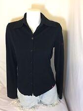 Edc Women Would Black Button Up Shirt Size Large Long Sleeve Bon59#25