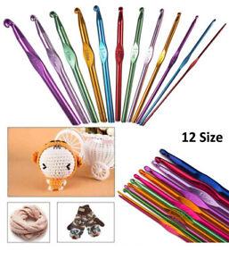 Crochet Hook 12pcs Multi colour Aluminum 2mm to 8mm for Yarn Craft Knitting Meta