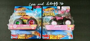 2021 Hot Wheels 1:64 Lot of 2 Monster Truck Variations BARBIE/BEETLE