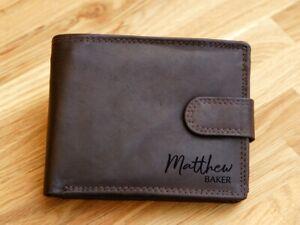 Personalised NAME Engraved Genuine Leather Wallet RFID Birthday Anniversary Mens