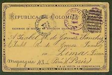 Panama/1890 Colombia 2c card to Peru/AGENCIA COLON