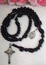 Black Beads Paracord Catholic Rosary, St. Michael Medal - Handmade