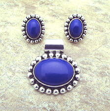 BLUE Pendant Earring Set .925 Sterling Silver Oval Charm Earring Birthday Gift