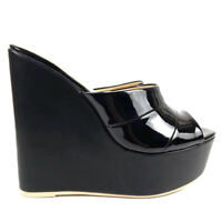 Women Shoes Wedge Sandals Sky High Heel Platform Slipper Summer Mules Black