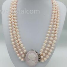 Pink Freshwater Pearl Potato Statement Necklace Women Cameo Queen Clasp Handmade