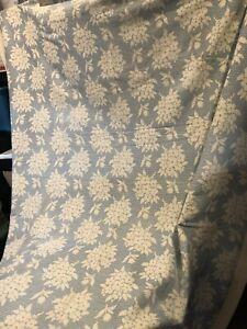 Antique American Primitive Folk Art Blue & White White Handmade Linen Blanket